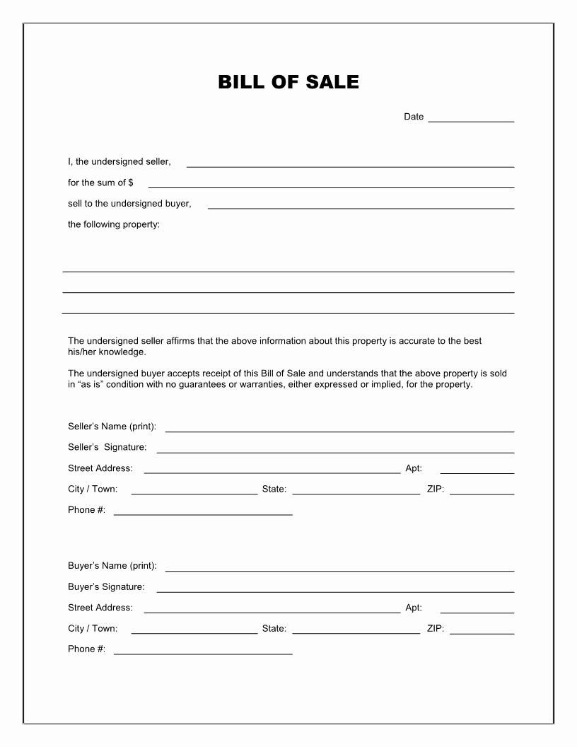 Alabama Vehicle Bill Of Sale Gift Awesome Free Printable Blank Bill Of Sale form Template as is