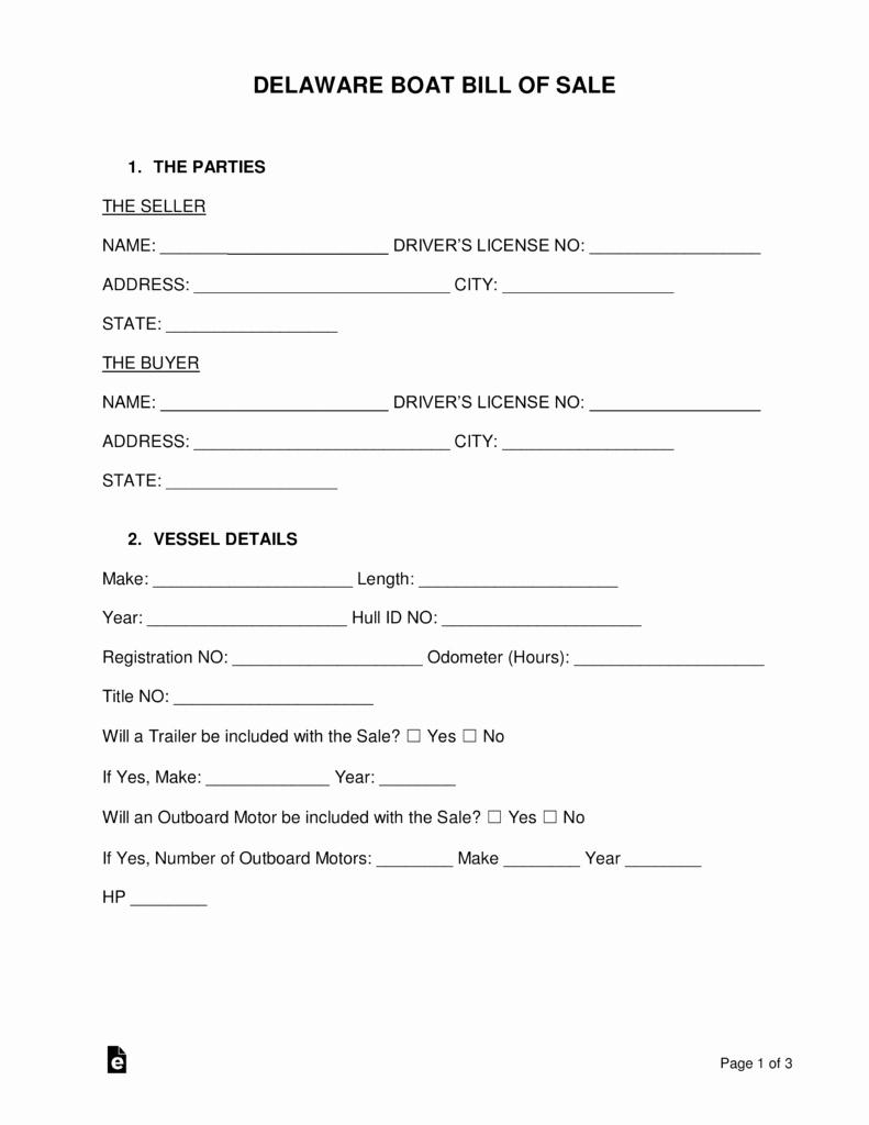 delaware boat bill of sale