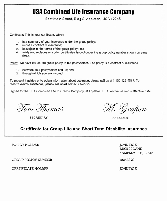 Alarm Certificate for Insurance Template New Example A Term Life Insurance Policy