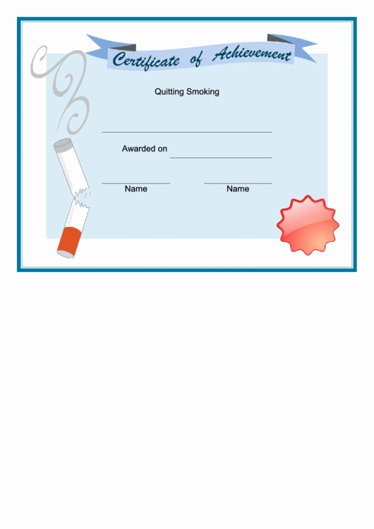 Alarm Monitoring Certificate Template Elegant Quitting Smoking Certificate Printable Pdf