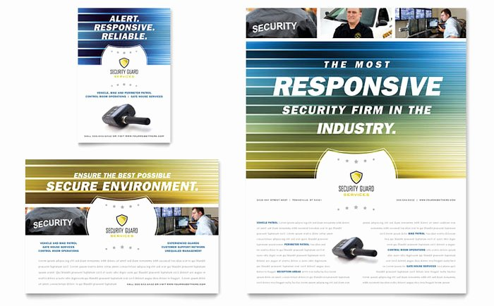 Alarm Monitoring Certificate Template Unique Security Guard Flyer & Ad Template Design