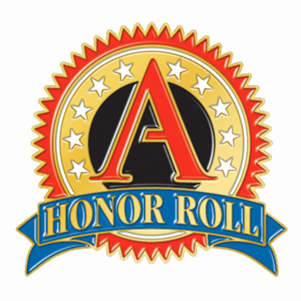 "All A Honor Roll Certificate Awesome A"" Honor Roll Round Lapel Pin"