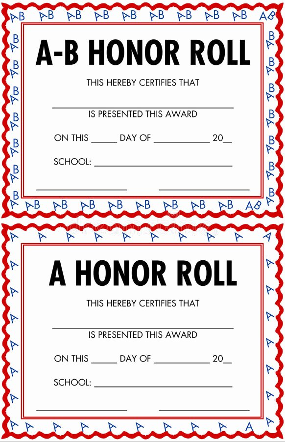 All A Honor Roll Certificate Elegant Honor Roll Certificates Stock Vector Illustration Of