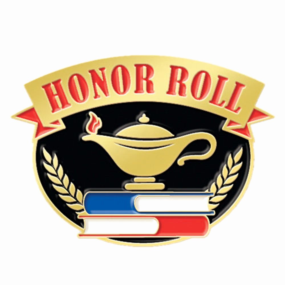 All A Honor Roll Certificate Elegant Honor Roll with Lamp Knowledge Lapel Pin