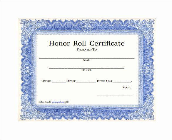 All A Honor Roll Certificate New Honor Roll Certificate Template