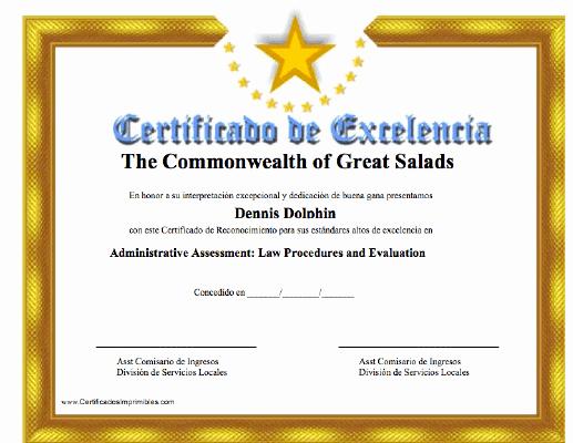 Altar Server Certificate Template Elegant Certificado De Excelenca Para Imprimir Los Certificados