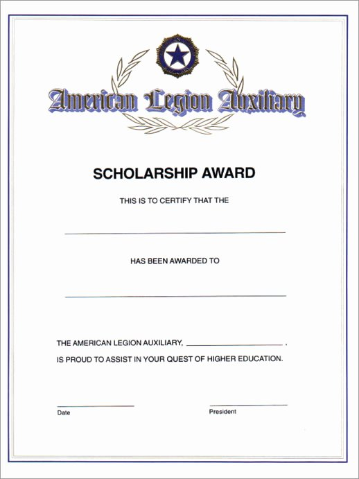 American Flag Certificate Template Best Of Auxiliary Scholarship Award Certificate American Legion
