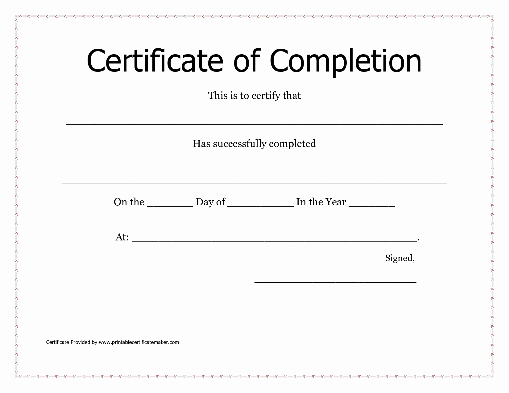 Anger Management Certificate Of Completion Template Awesome 29 Of Free Printable Certificate Pletion