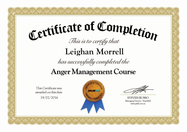 Anger Management Certificate Of Completion Template Awesome Anger Management Certificate