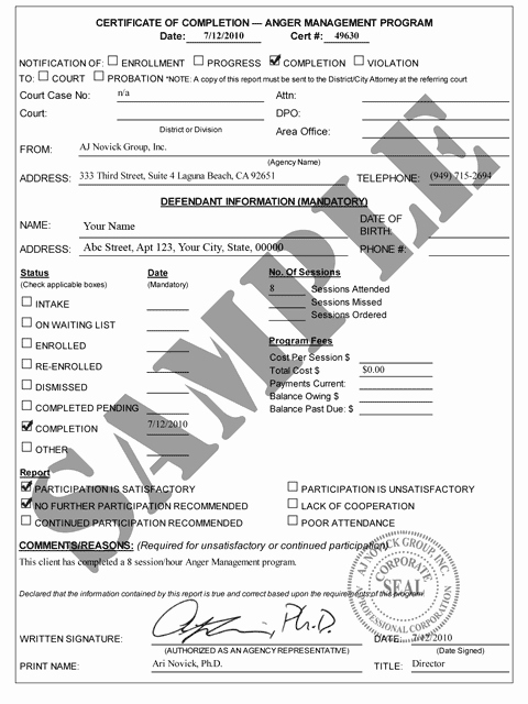 Anger Management Certificate Of Completion Template Awesome Anger Management Certificate Of Pletion