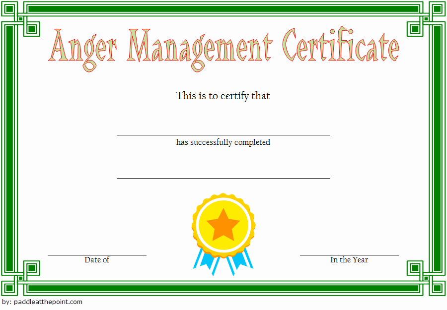 Anger Management Certificate Template Beautiful Anger Management Certificate Template [10 Amazing Designs]