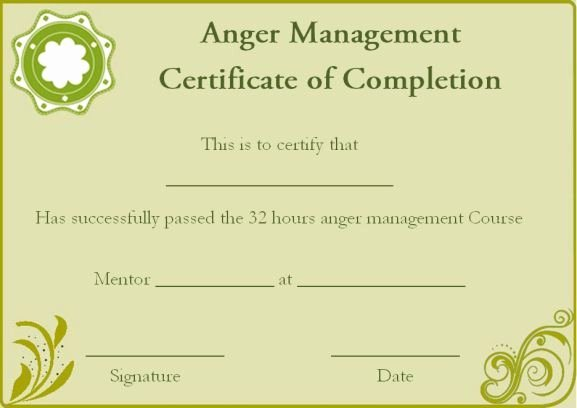 Anger Management Certificate Template Unique Anger Management Certificate Of Pletion Template