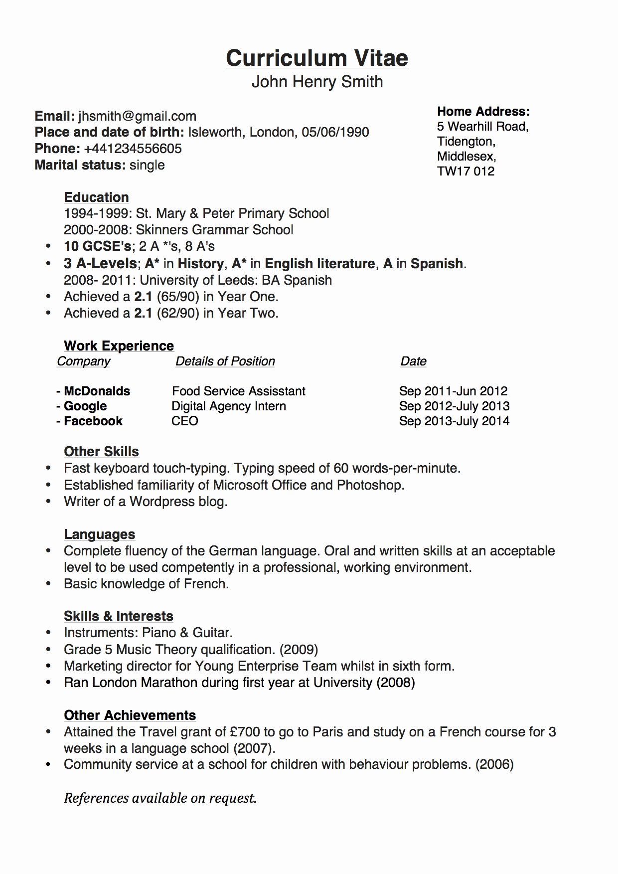 Anticipated Graduation Date On Resume Awesome Simple Chronological Cv for the Uk
