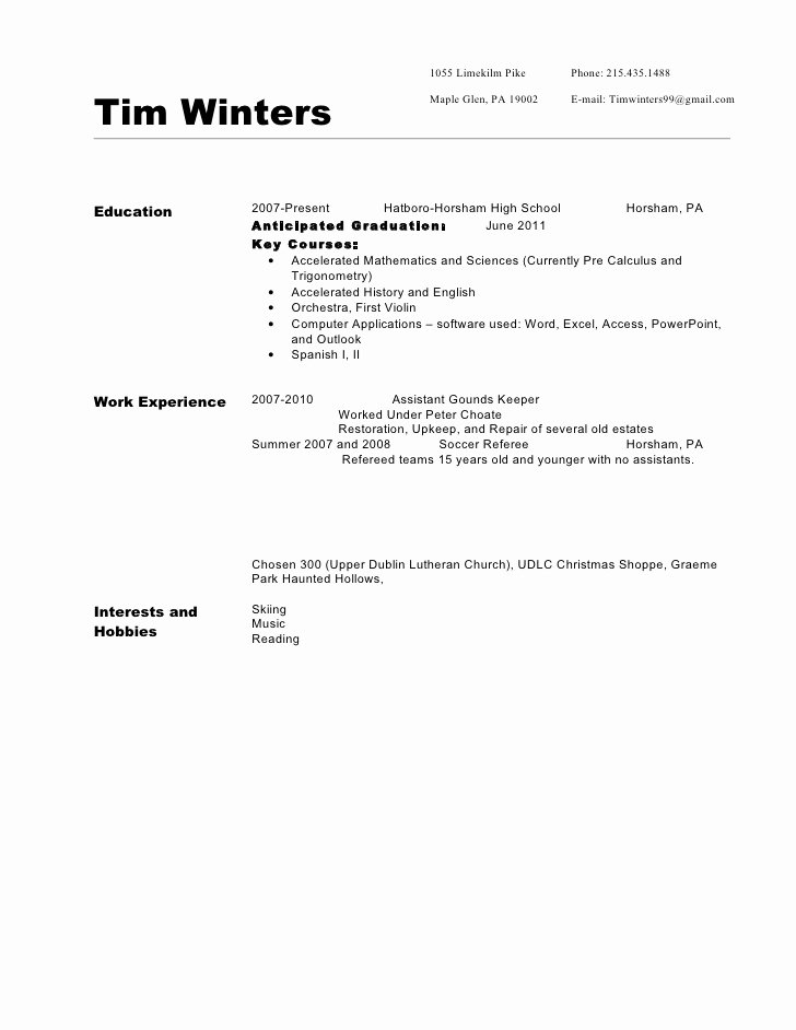 Anticipated Graduation Date On Resume Elegant Resume Sample 310