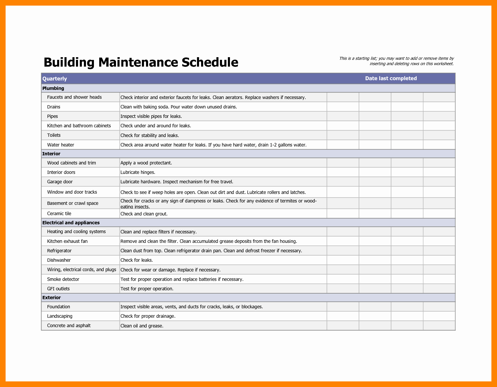 Apartment Maintenance forms Inspirational Building Maintenance Checklists – Emmamcintyrephotography