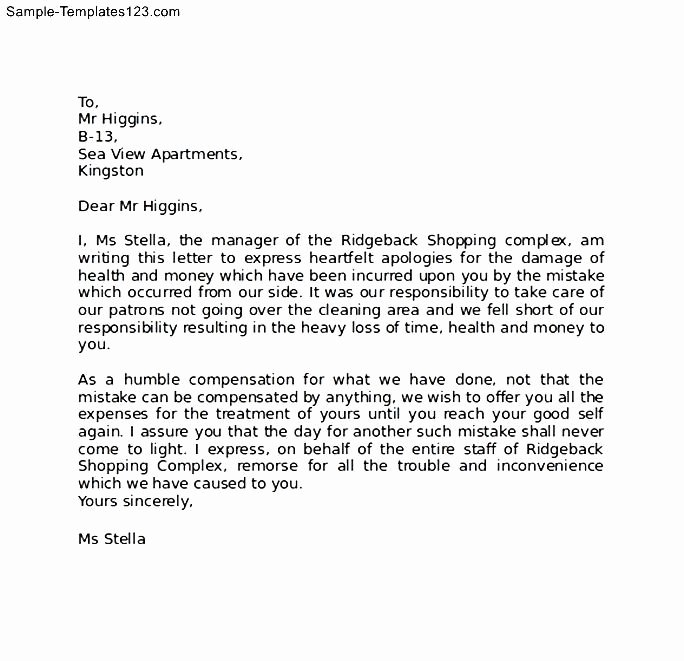 Apology Letter for Not attending An event Beautiful Sample Business Apology Letter Sample Templates Sample