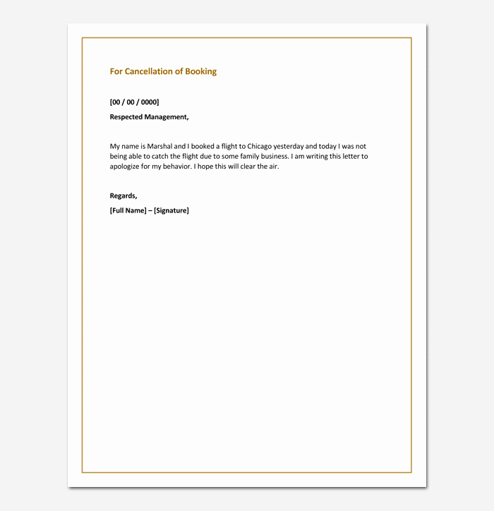 apology letter for cancellation