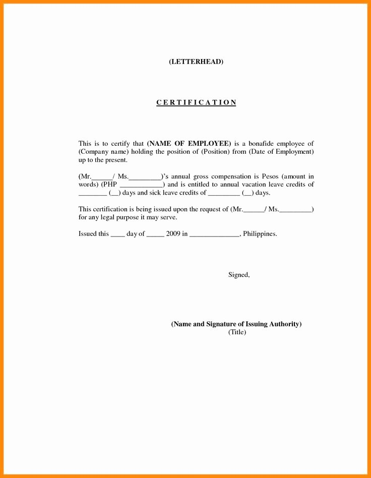 Application and Certificate for Payment Template Lovely 7 Employment Certification Sample