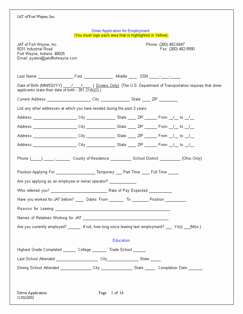 Application for Employment Free Template Awesome Truck Driver Employment Application Word