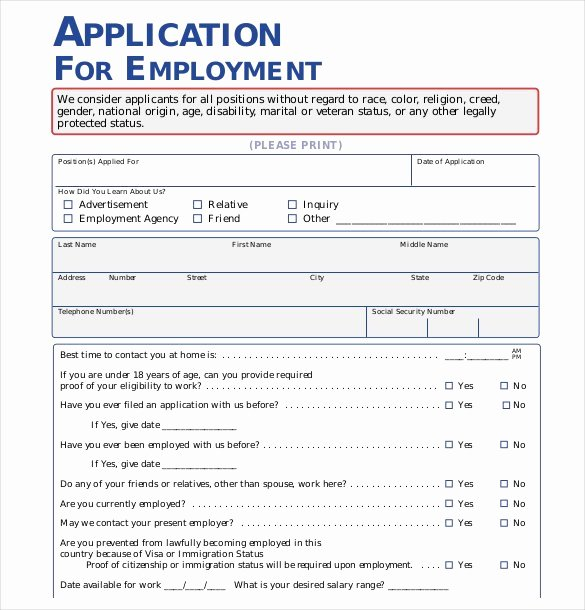 Application for Employment Free Template Elegant 21 Employment Application Templates Pdf Doc