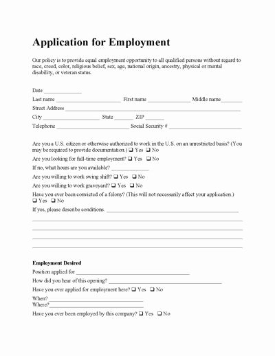 Application for Employment Free Template Elegant Free Employee Application form