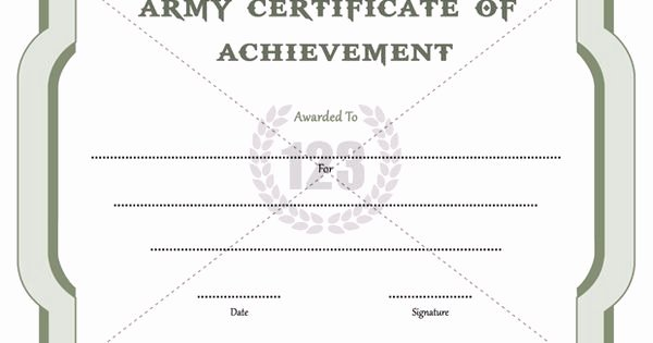 Army Award Certificate Template Awesome Army Certificate Of Achievement Template 123certificate