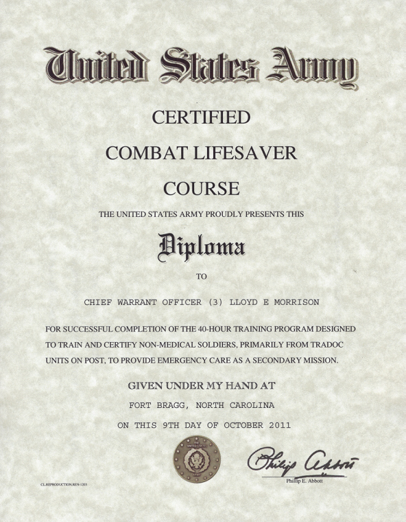 Army Award Certificate Template Awesome Army Certified Bat Lifesaver Certificate