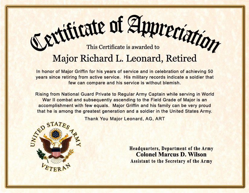 Army Award Certificate Template Awesome Free Customizable Certificates