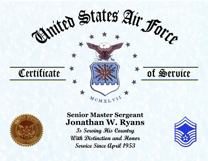 Army Award Certificate Template Beautiful Us Air force Veterans Certificate Of Service Displays Awards