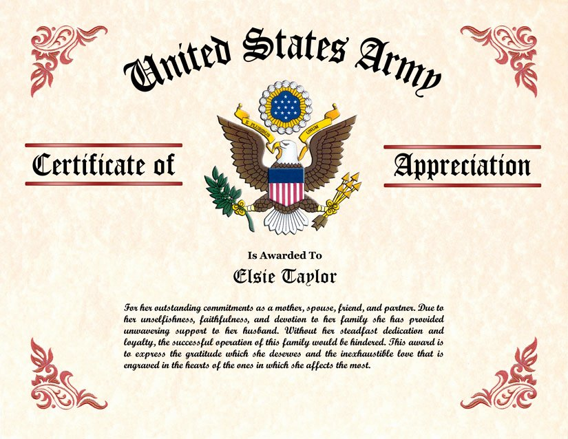 Army Award Certificate Template Elegant Military Wife and Family Certificate Of Appreciation
