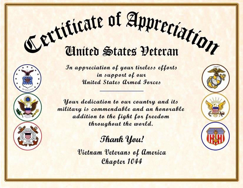Army Award Certificate Template Fresh Military Certificate Of Appreciation Veteran