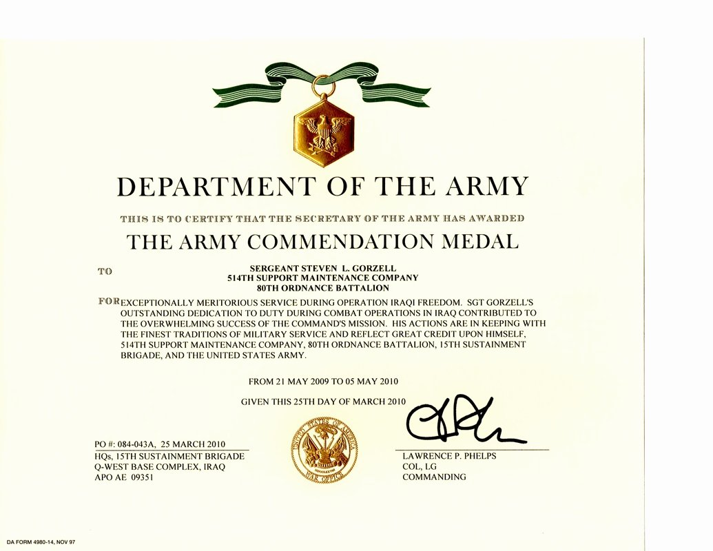 Army Award Certificate Template Inspirational Military Awards Certificates and Training Steven Lee