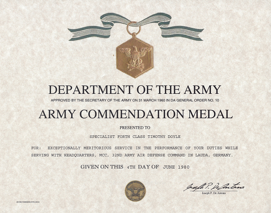 Army Award Certificate Template New Army Mendation Medal Certificate
