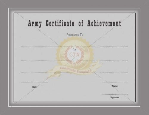 Army Certificate Of Achievement Template Awesome Certificate Achievement Template Awarded for Different