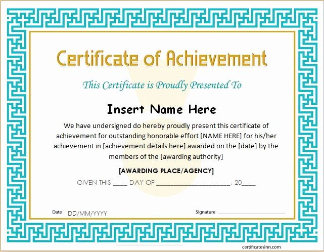 Army Certificate Of Achievement Template New 26 Achievement Certificates for 2018