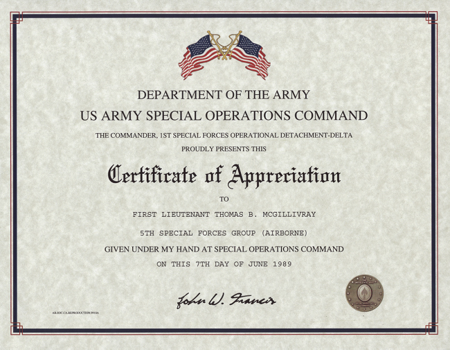 Army Certificate Of Appreciation Template Ppt Elegant Special Operations Mand Certificate Of Appreciation