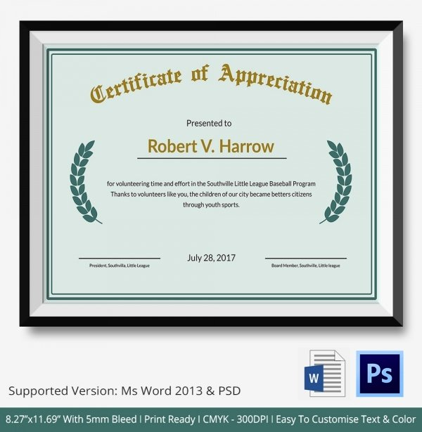 Army Certificate Of Appreciation Template Ppt Fresh Certificate Of Appreciation Templates 24 Free Word Pdf