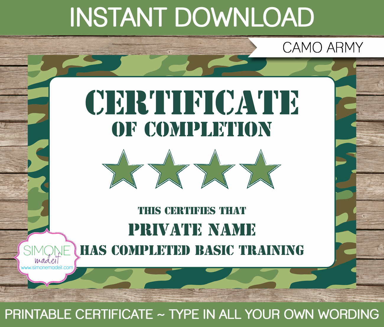 Army Certificate Of Appreciation Template Ppt Inspirational Army Party Printables Invitations & Decorations – Camo