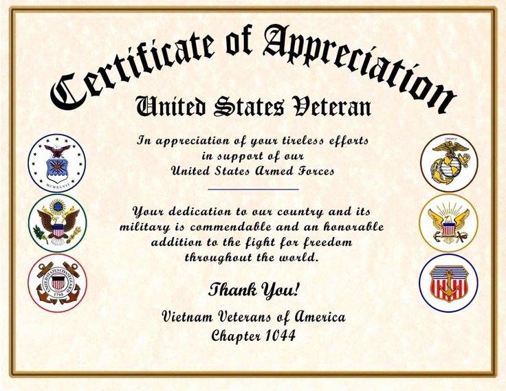 Army Certificate Of Appreciation Template Ppt Unique fortable Military Certificate Appreciation Veteran