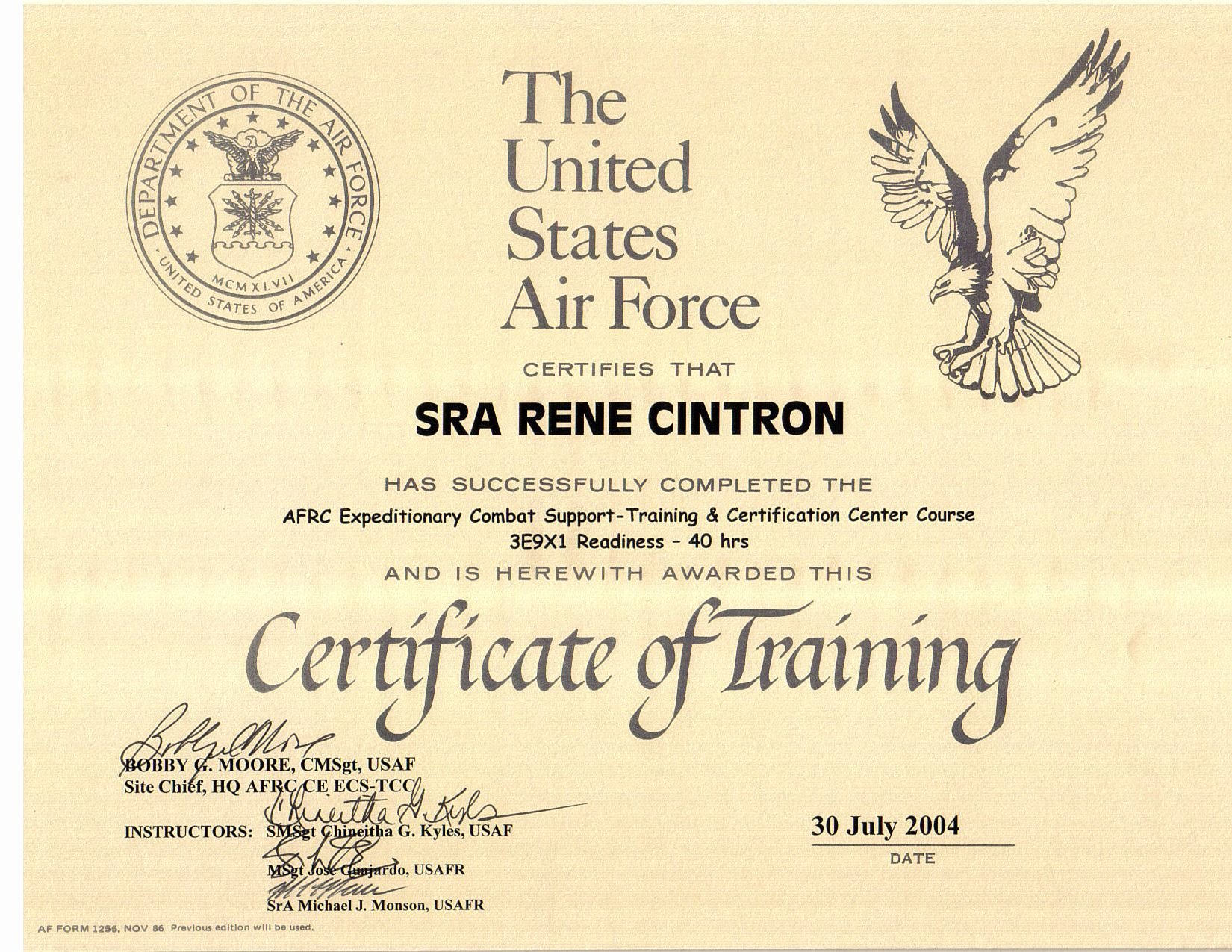 Army Certificate Of Training Template Beautiful Rene Cintron Electronic Portfolio