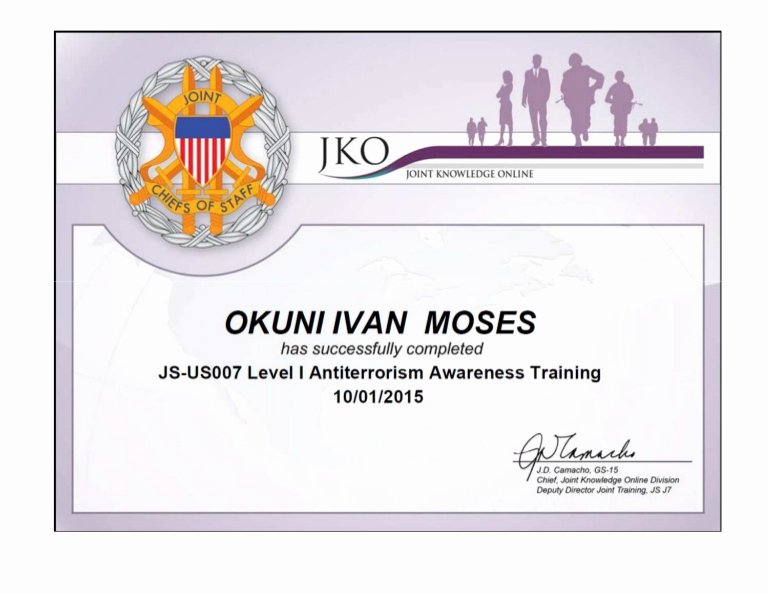 Army Certificate Of Training Template Lovely Certificate In Level Antiterrorism Awareness Training