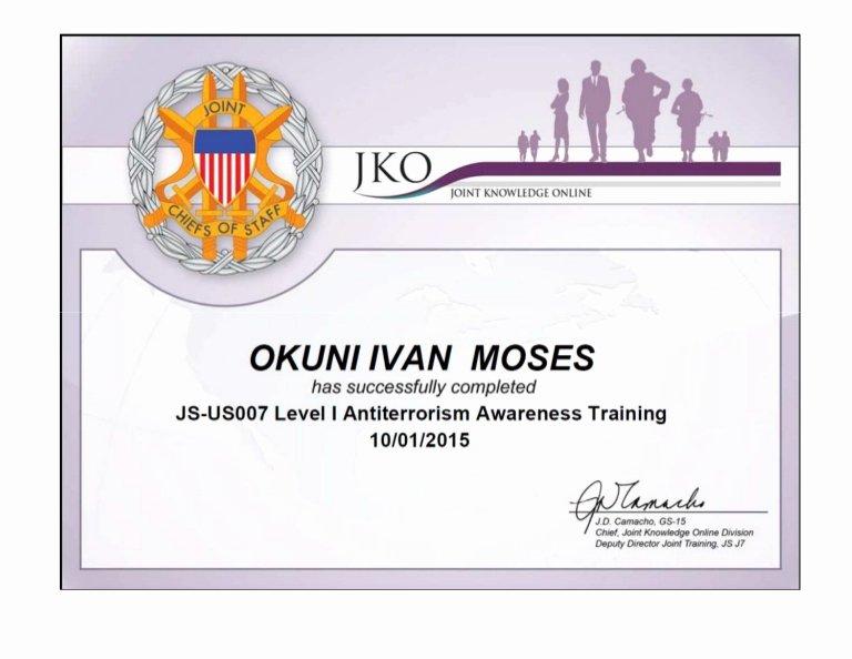 certificate in level antiterrorism awareness training