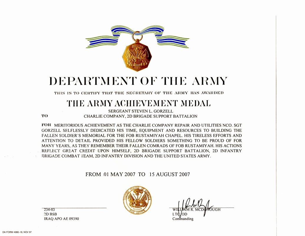 Army Certificate Of Training Template Lovely Military Awards Certificates and Training Steven Lee