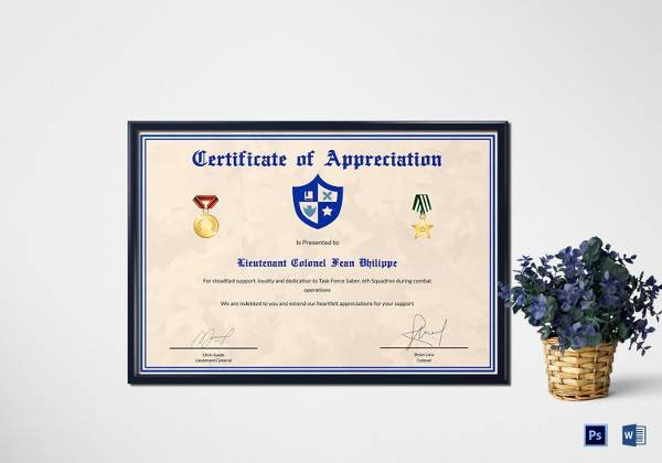 Army Certificate Of Training Template Luxury Free 35 Best Printable Certificate Of Appreciation