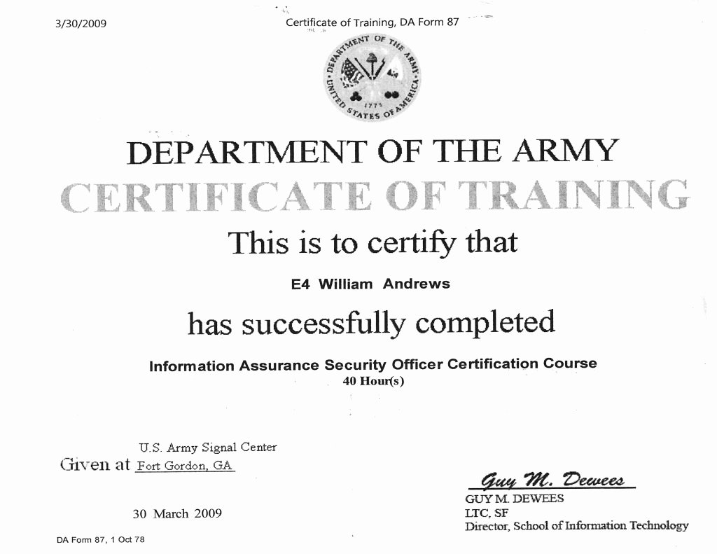 Army Certificate Of Training Template New Information assurance Certification Freedomapkhere