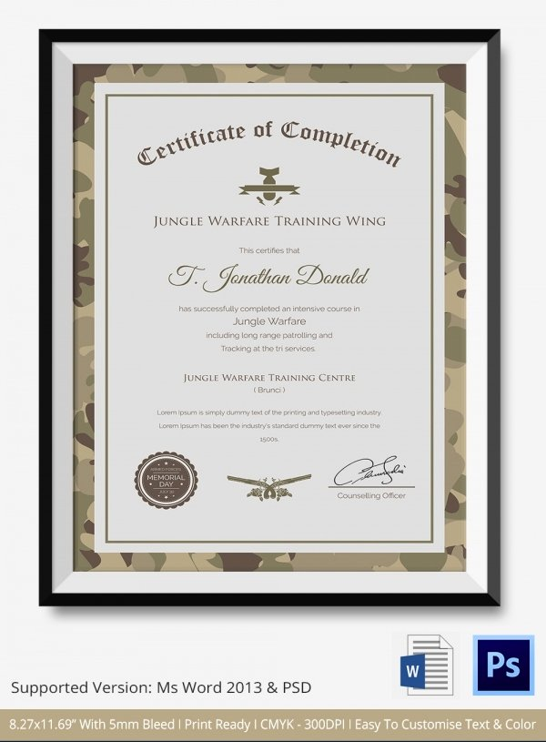 Army Certificate Of Training Template Unique Certificate Of Pletion Template 31 Free Word Pdf