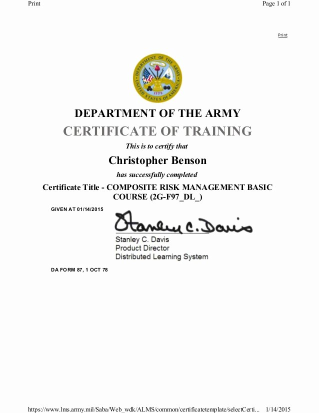Army Cls Certificate Template Inspirational Crm Basic Course