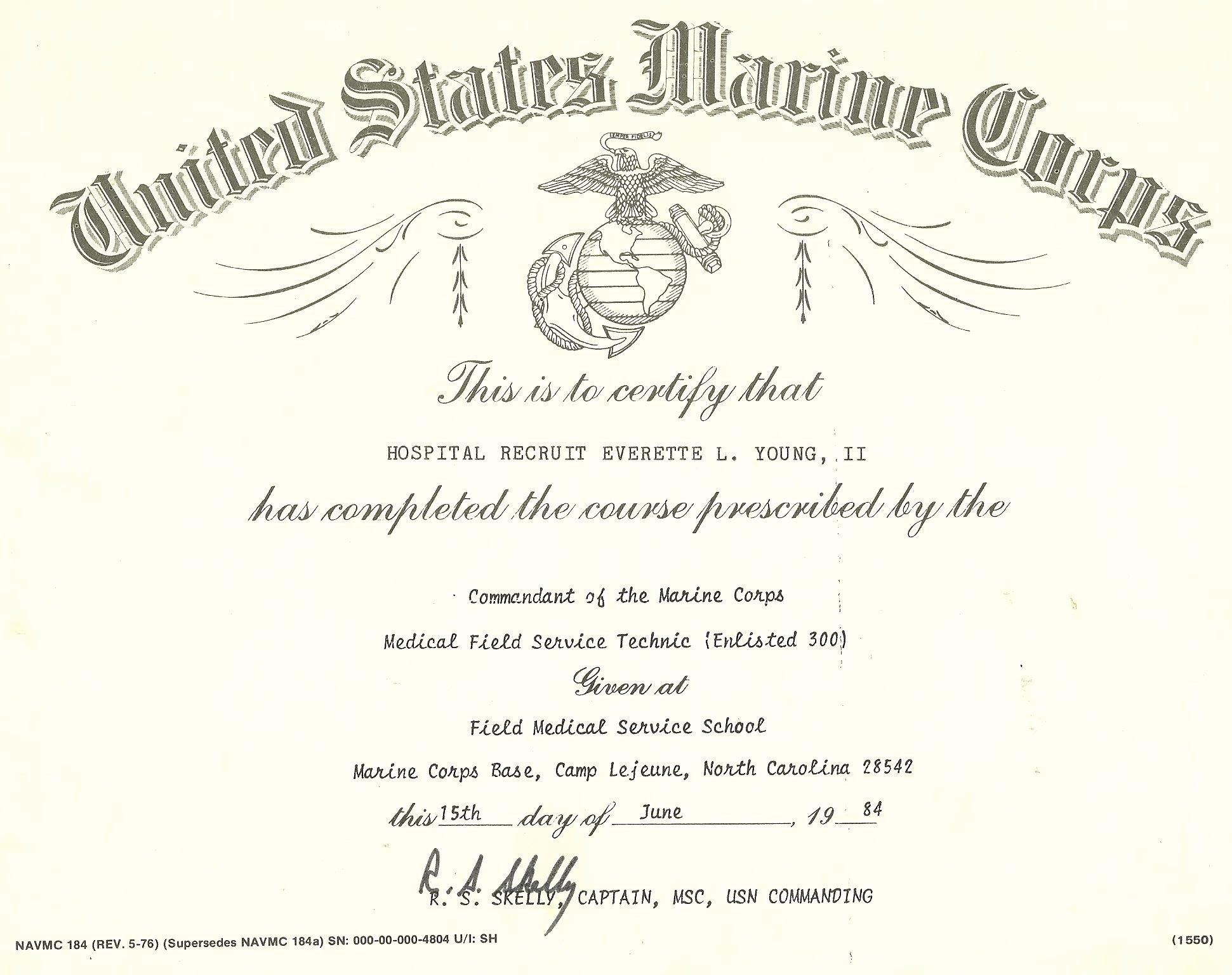 Army Cls Certificate Template Inspirational My Fleet Marine force Battlefield Medicine Certificate