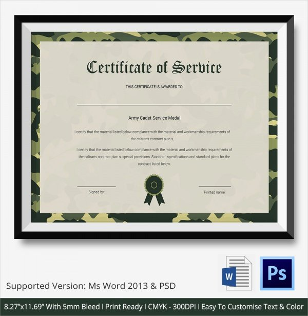 Army Cls Certificate Template Inspirational Sample Certificate Of Service Template 20 Documents In