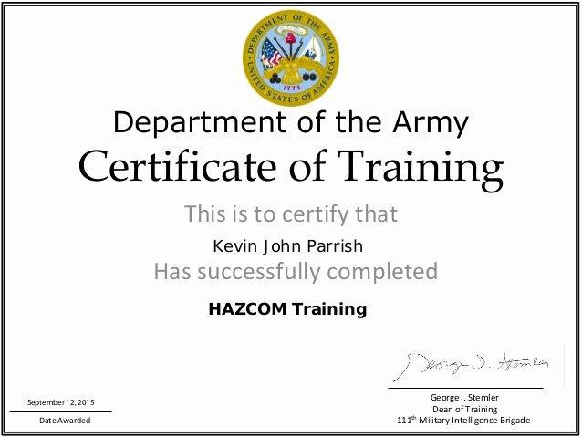 Army Cls Certificate Template Unique Haz Trainig